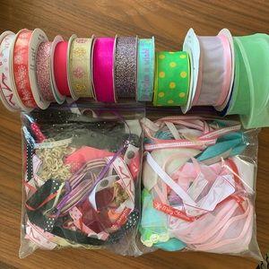 Craft Ribbon Lot! 11 Spools + 2 Bags of Scraps